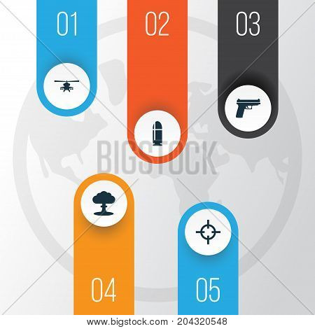 Warfare Icons Set. Collection Of Slug, Target, Chopper And Other Elements