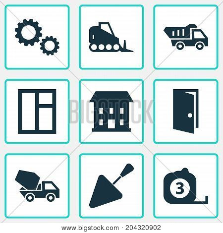 Architecture Icons Set. Collection Of Measure Tool, Tractor, Entrance And Other Elements