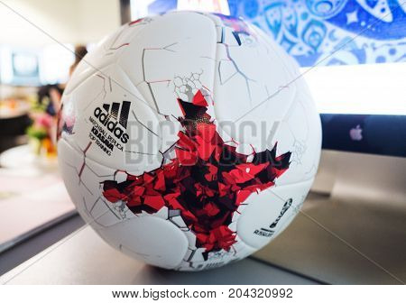 September 14 2017. Moscow Russia Official ball of the 2018 FIFA World Cup Adidas Krasava