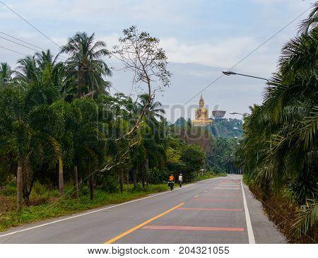 Rural Asphalt Road In Thailand Province