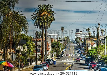 Street in downtown Los Angeles in California
