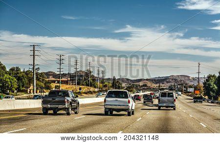 Traffic on 101 freeway northbound. California USA