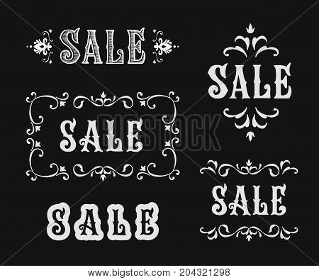Vector vintage sale sign set. Lettering in Victorian style