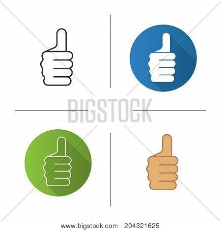 Thumbs up hand gesture icon. Flat design, linear and color styles. Approval and like sign. Isolated vector illustrations