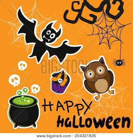 Halloween icons stickers with bat cauldron an owl and a cupcake