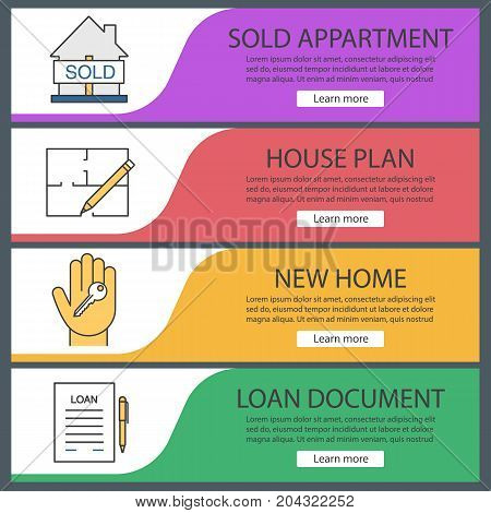 Real estate web banner templates set. Sold house, floor plan, hand with key, loan agreement. Website color menu items. Vector headers design concepts