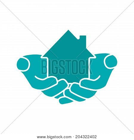 House in hands glyph color icon. Real estate insurance. Hands holding building. Silhouette symbol on white background. Negative space. Vector illustration