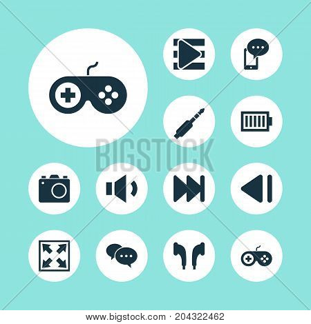 Multimedia Icons Set. Collection Of Song List, Gamepad, Enlarge And Other Elements