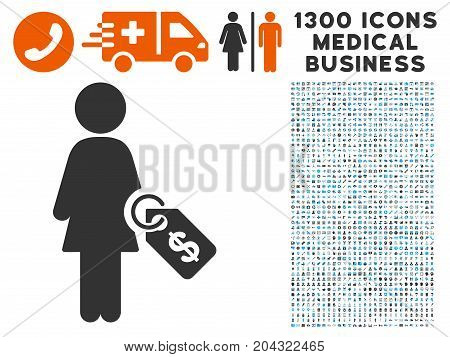 Woman Price Tag grey vector icon with 1300 medical commercial pictographs. Set style is flat bicolor light blue and gray pictograms.