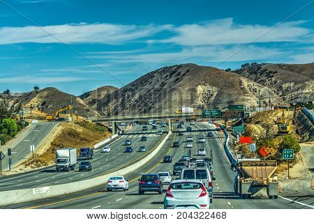 Traffic on Pacific Coast Highway. California USA