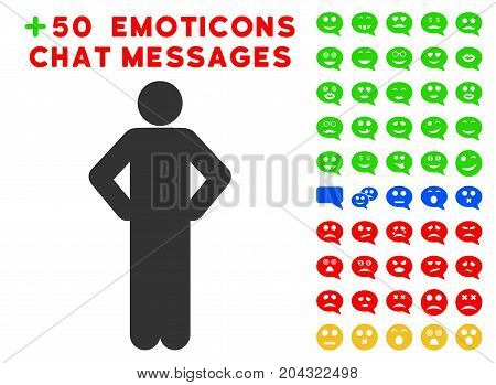 Akimbo Pose pictograph with colored bonus emoticon clip art. Vector illustration style is flat iconic symbols for web design, app user interfaces, messaging.