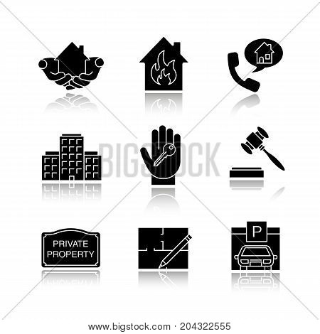 Real estate drop shadow black glyph icons set. House in hands, multi-storey building, floor plan, parking place, private property sign, gavel, hand with key. Isolated vector illustrations