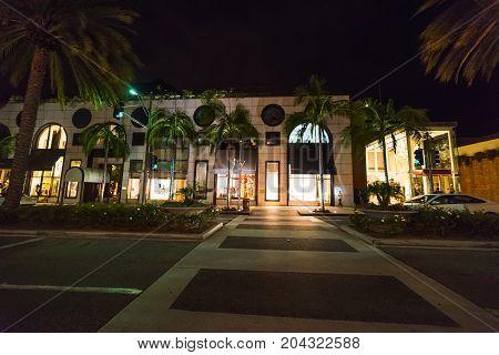 Crosswalk in Rodeo Drive at night. Beverly Hills California