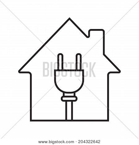 House with wire plug inside linear icon. Electric utilities. Home electrification. Thin line illustration. Contour symbol. Vector isolated outline drawing