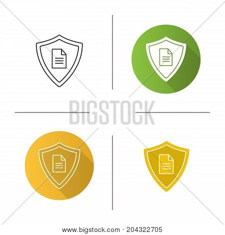 Personal documents security icon. Flat design, linear and glyph color styles. Protection shield with private document. Isolated vector illustrations