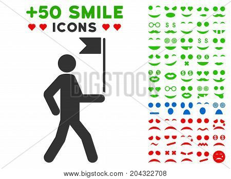 Guide Man With Flag pictograph with colored bonus smiley design elements. Vector illustration style is flat iconic elements for web design, app user interfaces, messaging.