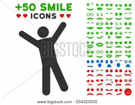 Man Joy icon with colored bonus facial graphic icons. Vector illustration style is flat iconic symbols for web design, app user interfaces, messaging.