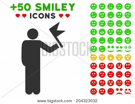 Man With Flag pictograph with colored bonus emotion clip art. Vector illustration style is flat iconic symbols for web design, app user interfaces, messaging.
