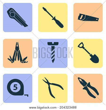 Handtools Icons Set. Collection Of Multifunctional Pocket, Digging, Screw And Other Elements