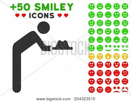 Servant With Hat pictograph with colored bonus emotion pictograph collection. Vector illustration style is flat iconic elements for web design, app user interfaces, messaging.