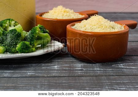 Cooking Cream Of Broccoli Soup With Cheese. Place For Text.
