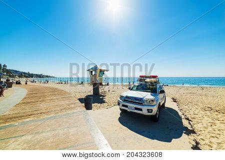 Laguna Beach CA USA - November 03 2016: Lifeguard truck and hut in Laguna Beach shore