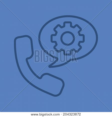 Instructions by phone linear icon. Handset with cogwheel inside chat box. Thin line outline symbols on color background. Vector illustration