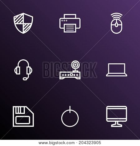 Computer Outline Icons Set. Collection Of Peripheral, Laptop, Floppy And Other Elements