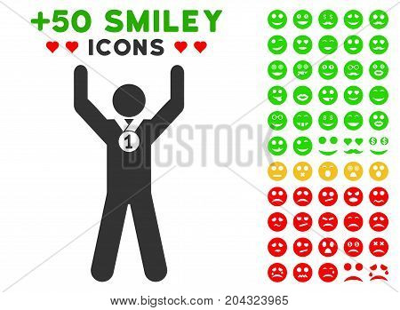Winner Hands Up pictograph with colored bonus facial pictograms. Vector illustration style is flat iconic symbols for web design, app user interfaces, messaging.