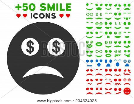 Bankrupt Smiley icon with colored bonus mood clip art. Vector illustration style is flat iconic symbols for web design, app user interfaces, messaging.