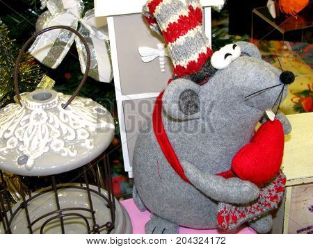 Soft toy in the form of a grey mouse on Christmas sales