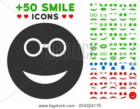 Clever Smiley pictograph with colored bonus mood clip art. Vector illustration style is flat iconic symbols for web design, app user interfaces, messaging.
