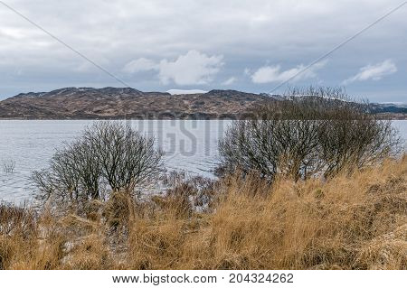 Loch Braden reservoir, Ayrshire, on a winters day.