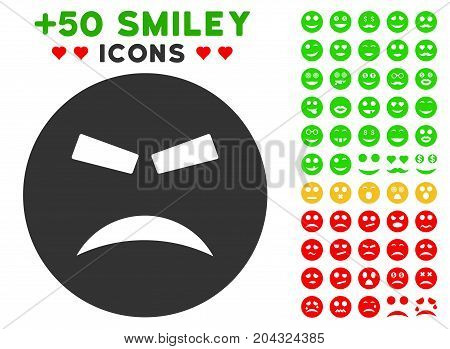 Furious Smiley pictograph with colored bonus avatar images. Vector illustration style is flat iconic symbols for web design, app user interfaces, messaging.