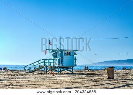 Lifeguard hut in Santa Monica beach. California USA
