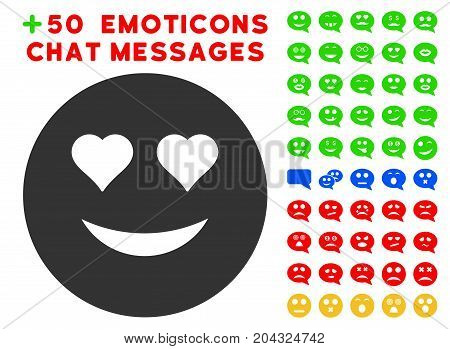 Love Smiley pictograph with colored bonus smiley pictograph collection. Vector illustration style is flat iconic symbols for web design, app user interfaces, messaging.