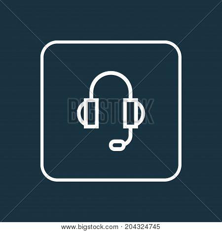Premium Quality Isolated Earphones  Element In Trendy Style.  Headphones Outline Symbol.