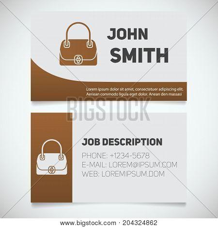 Business card print template with handbag logo. Women's bags shop. Stationery design concept. Vector illustration
