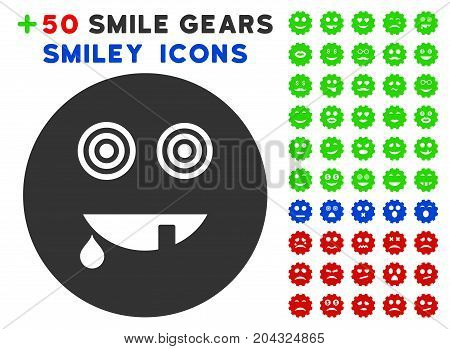 Maniac Smiley icon with colored bonus facial symbols. Vector illustration style is flat iconic elements for web design, app user interfaces, messaging.
