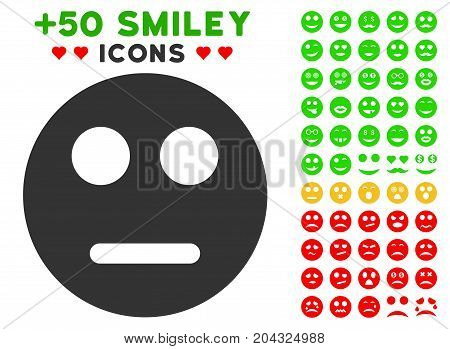 Neutral Smiley pictograph with colored bonus emotion symbols. Vector illustration style is flat iconic symbols for web design, app user interfaces, messaging.