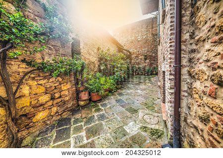 a quaint corner in Monteriggioni in Italy