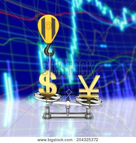 Concept Of Exchange Rate Support Dollar Vs Yen The Crane Pulls The Dollar Up And Lowers The Yen On D