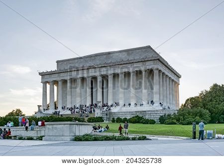 Tourists At The Lincoln Memorial In Washington Dc