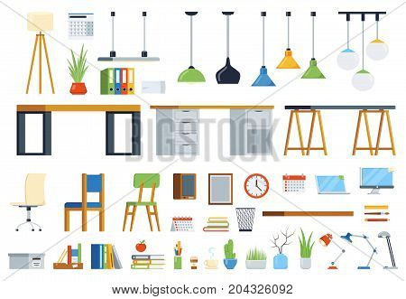 Modern interior furniture, accessories and plants. Creation kit of workplace. Set of vector elements