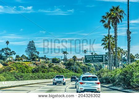 Traffic southbound on 101 freeway. California USA
