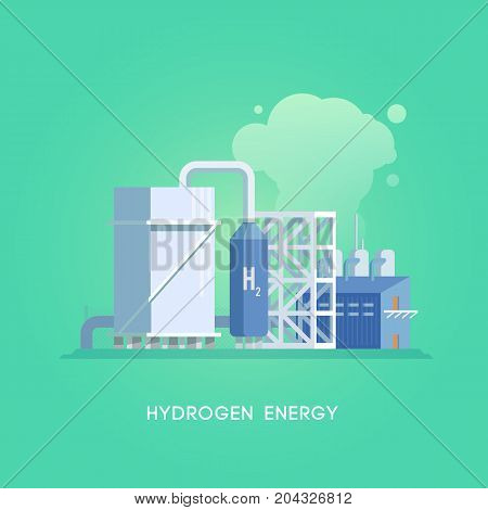 Vector flat illustration. Alternative sources of energy. Green energy. Hydrogen station.