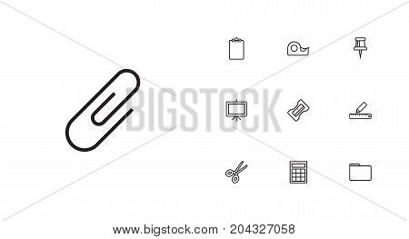 Collection Of Pushpin, Paper Clamp, Whiteboard And Other Elements.  Set Of 10 Stationery Outline Icons Set.