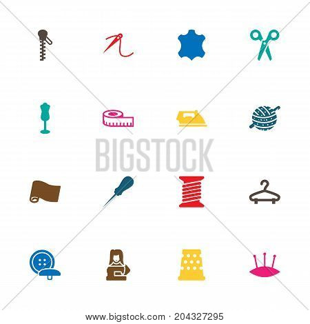 Collection Of Cutter, Bodkin, Knitting And Other Elements.  Set Of 16 Stitch Icons Set.