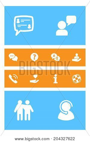 Collection Of Support, Help, Translate And Other Elements.  Set Of 12 Support Icons Set.