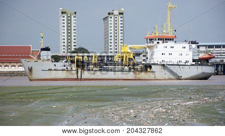 Logistic Ship Stop Wait Water Level Up At Estuary Of Chao Phraya River At Amphoe Phra Samut Chedi